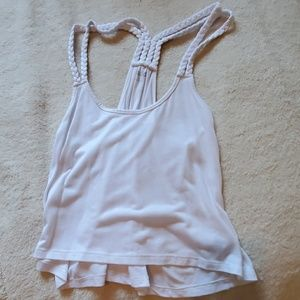 White Braided Strap Crop